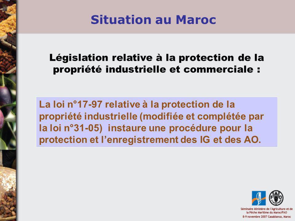 Situation au Maroc Législation relative à la protection de la propriété industrielle et commerciale :