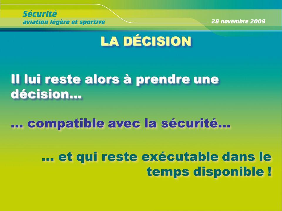 LA DÉCISION Il lui reste alors à prendre une décision… … compatible avec la sécurité… … et qui reste exécutable dans le temps disponible !