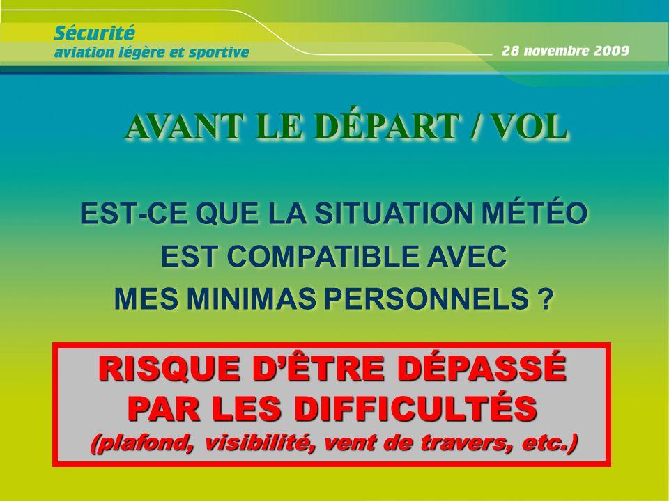 AVANT LE DÉPART / VOL RISQUE D'ÊTRE DÉPASSÉ PAR LES DIFFICULTÉS