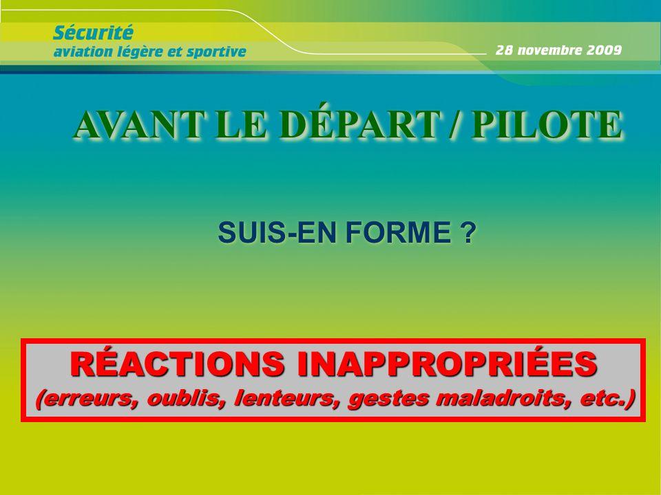 AVANT LE DÉPART / PILOTE