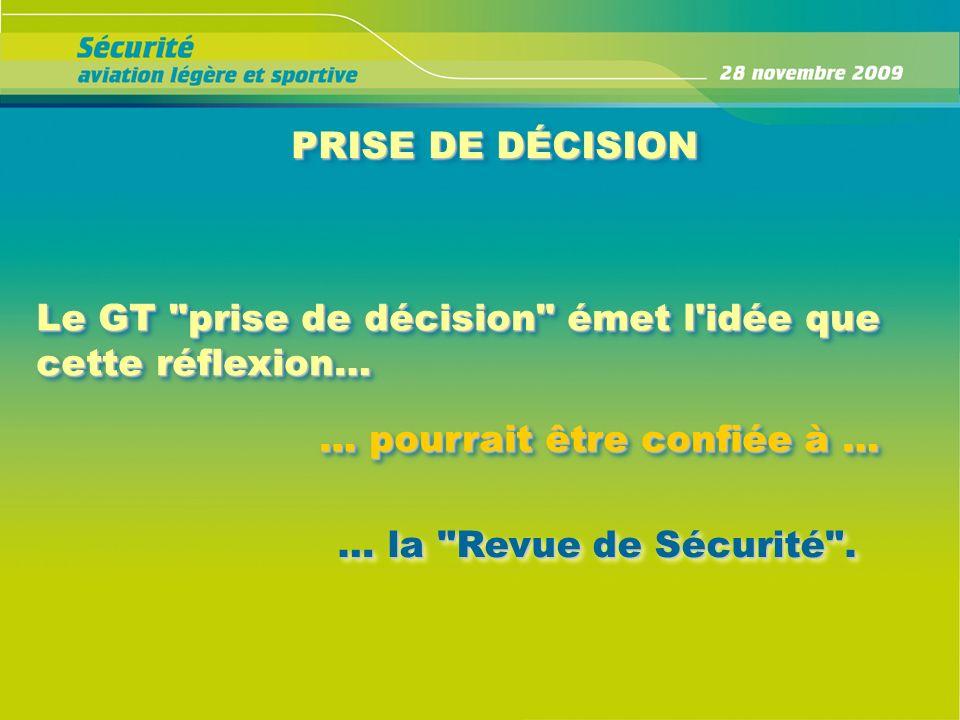 PRISE DE DÉCISION Le GT prise de décision émet l idée que cette réflexion… … pourrait être confiée à …