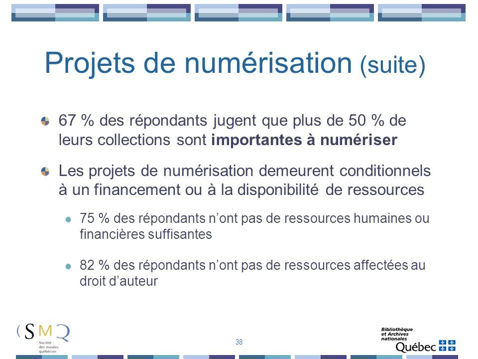 Projets de numérisation (suite)