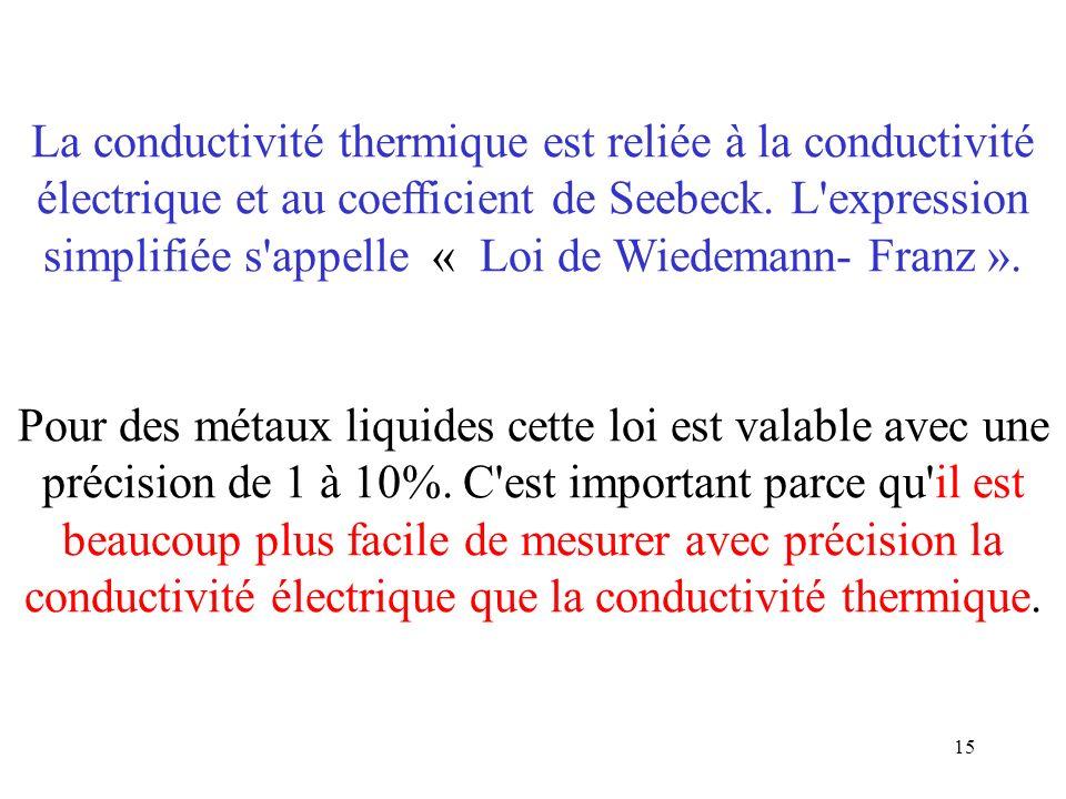 La conductivité thermique est reliée à la conductivité électrique et au coefficient de Seebeck.