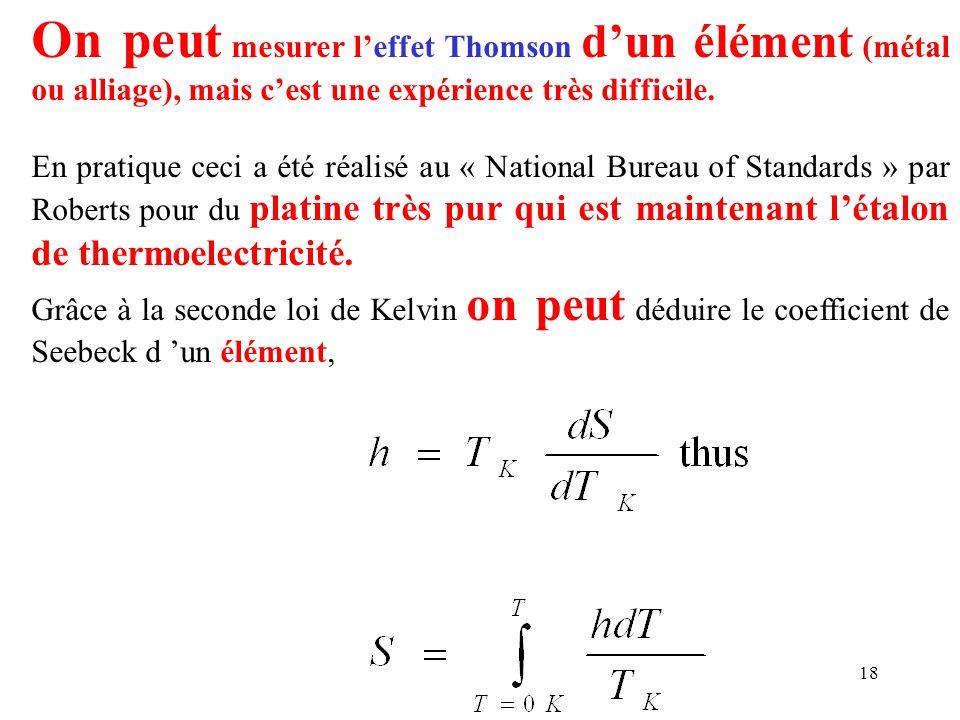 On peut mesurer l'effet Thomson d'un élément (métal ou alliage), mais c'est une expérience très difficile.