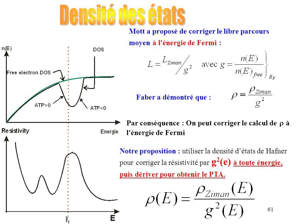 Densité des états Mott a proposé de corriger le libre parcours moyen à l énergie de Fermi : Faber a démontré que :