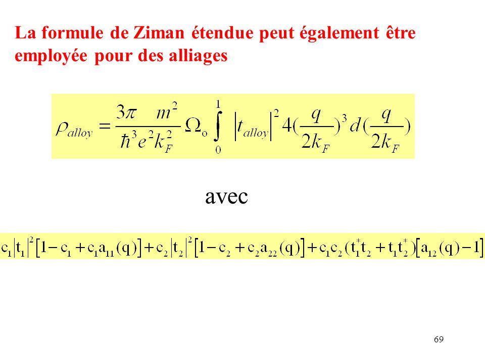 La formule de Ziman étendue peut également être employée pour des alliages