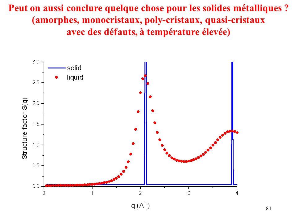 Peut on aussi conclure quelque chose pour les solides métalliques