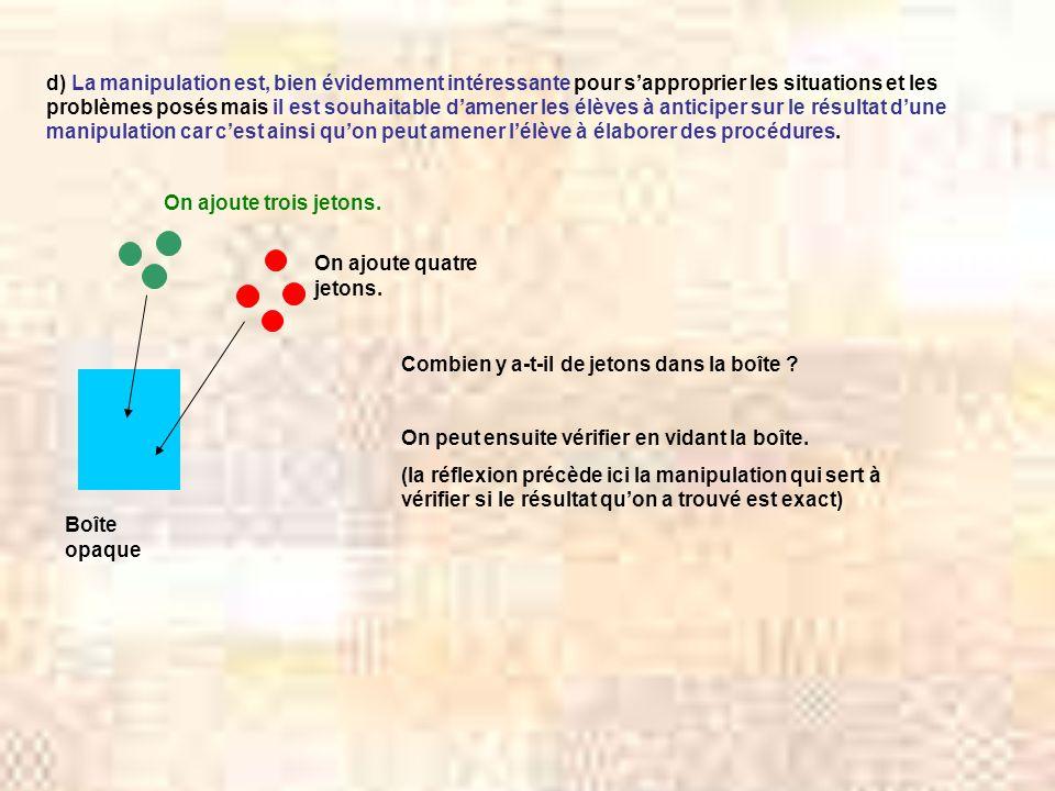 d) La manipulation est, bien évidemment intéressante pour s'approprier les situations et les problèmes posés mais il est souhaitable d'amener les élèves à anticiper sur le résultat d'une manipulation car c'est ainsi qu'on peut amener l'élève à élaborer des procédures.