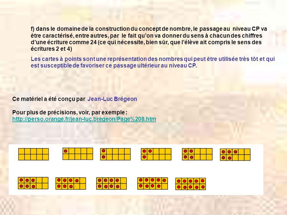 f) dans le domaine de la construction du concept de nombre, le passage au niveau CP va être caractérisé, entre autres, par le fait qu'on va donner du sens à chacun des chiffres d'une écriture comme 24 (ce qui nécessite, bien sûr, que l'élève ait compris le sens des écritures 2 et 4)