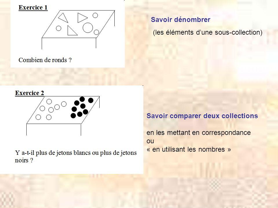 Savoir dénombrer (les éléments d'une sous-collection) Savoir comparer deux collections. en les mettant en correspondance.