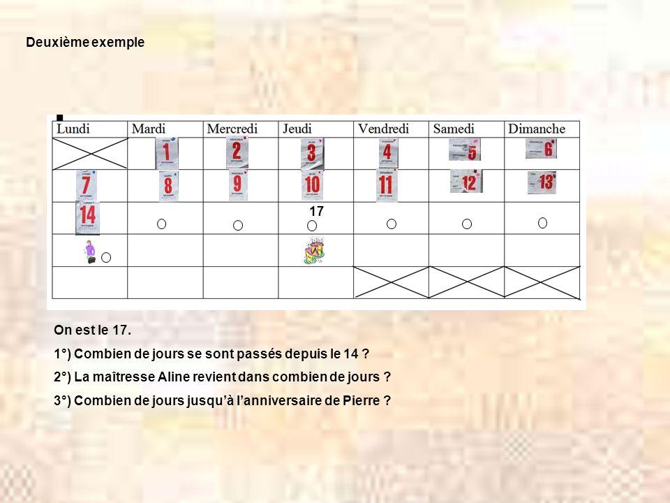 Deuxième exemple 17. On est le 17. 1°) Combien de jours se sont passés depuis le 14 2°) La maîtresse Aline revient dans combien de jours