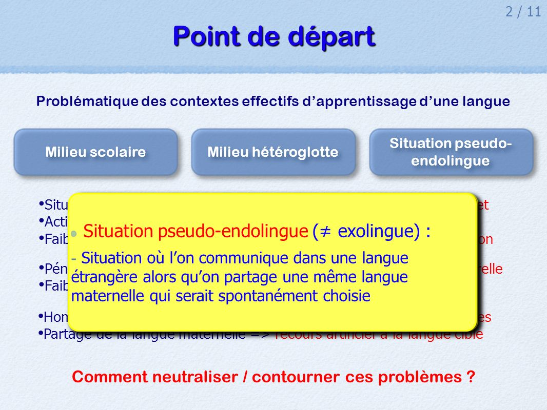 Point de départ Situation pseudo-endolingue (≠ exolingue) :