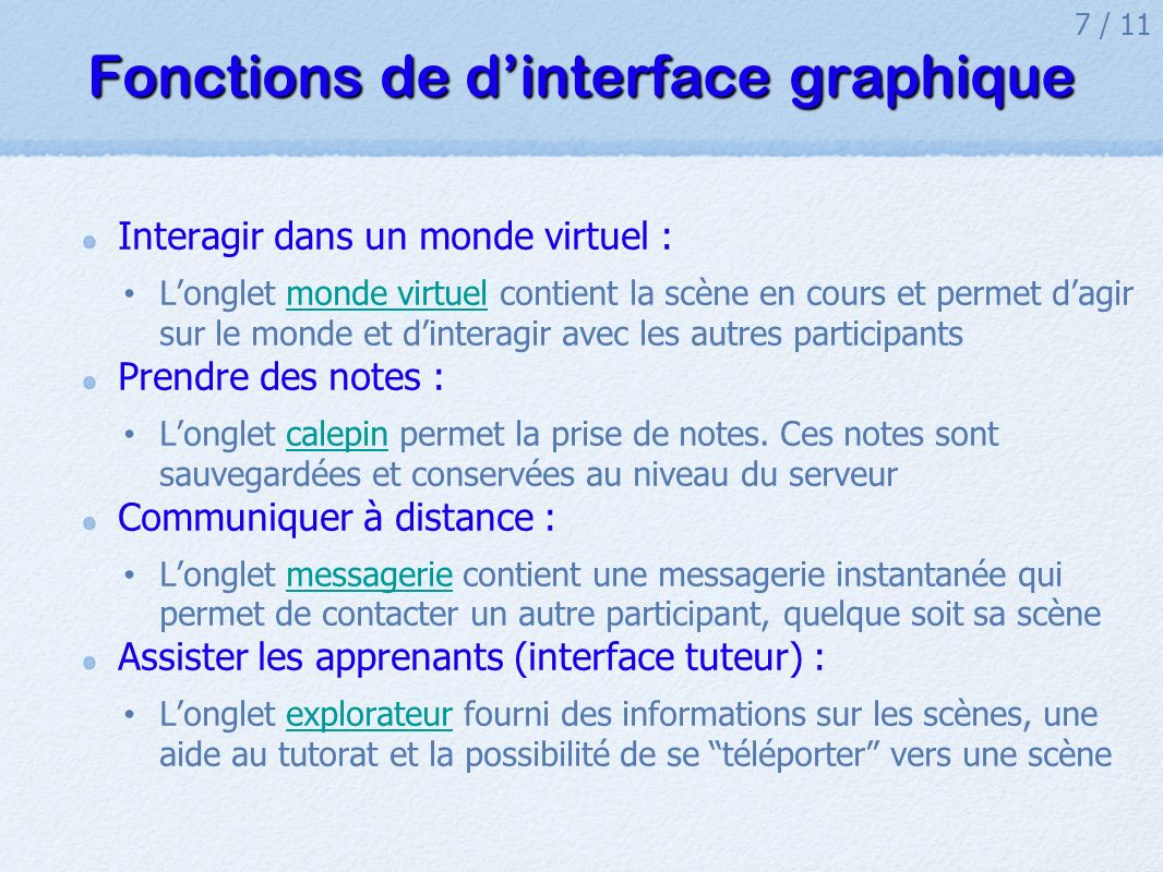 Fonctions de d'interface graphique