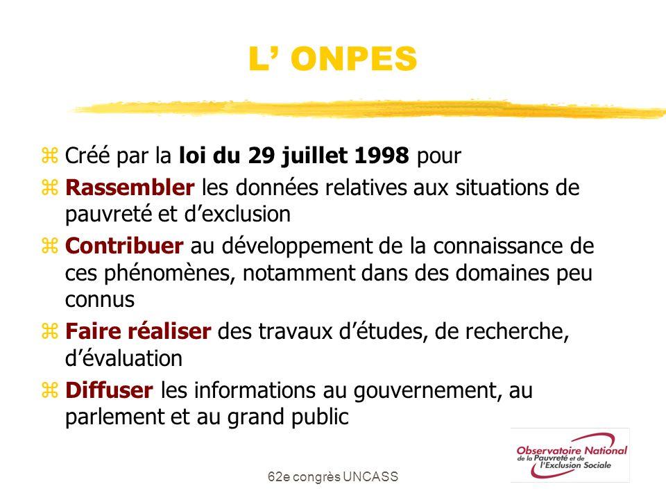 L' ONPES Créé par la loi du 29 juillet 1998 pour