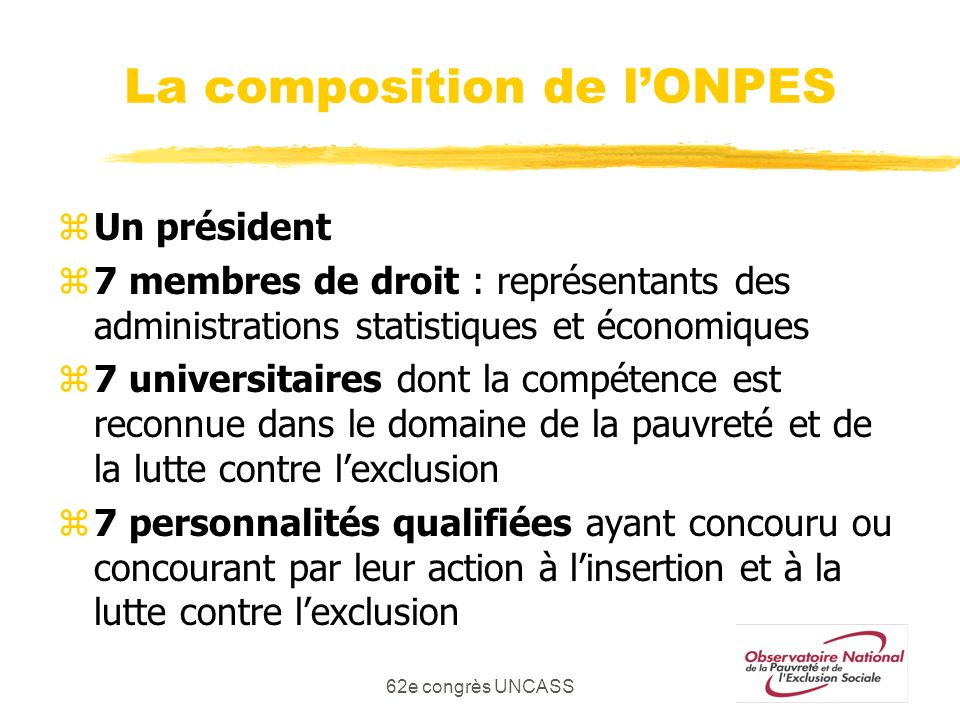 La composition de l'ONPES