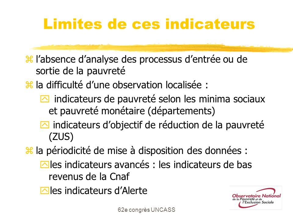 Limites de ces indicateurs