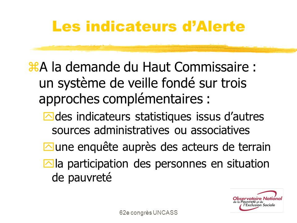 Les indicateurs d'Alerte