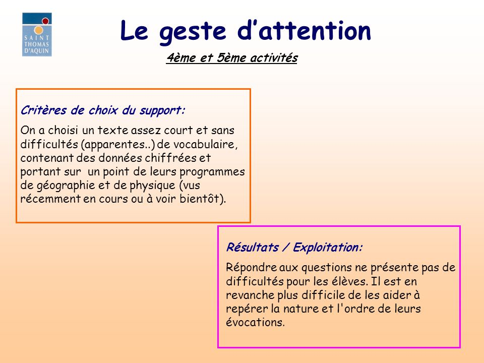 Le geste d'attention 4ème et 5ème activités