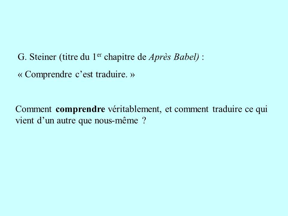 G. Steiner (titre du 1er chapitre de Après Babel) :