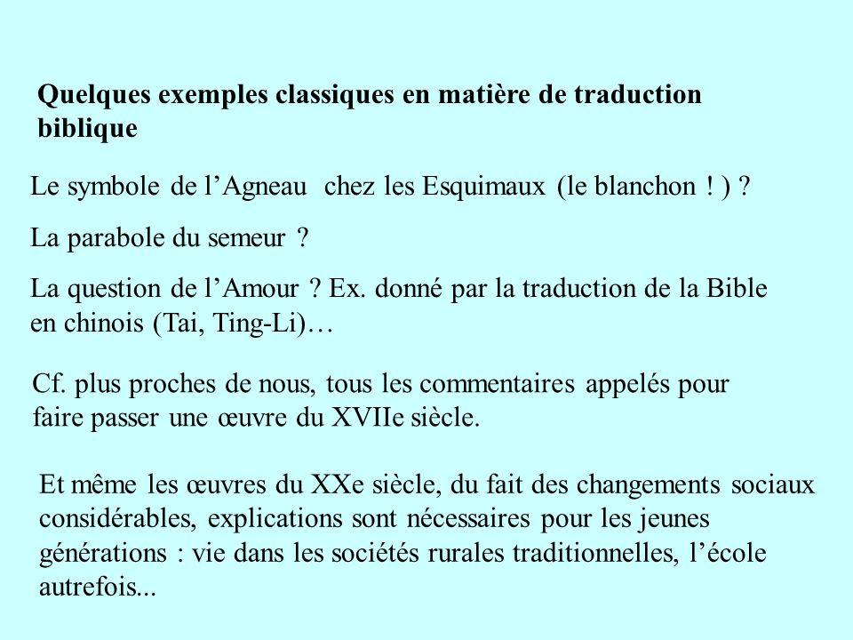Quelques exemples classiques en matière de traduction biblique