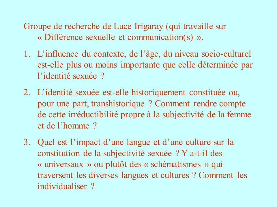 Groupe de recherche de Luce Irigaray (qui travaille sur « Différence sexuelle et communication(s) ».