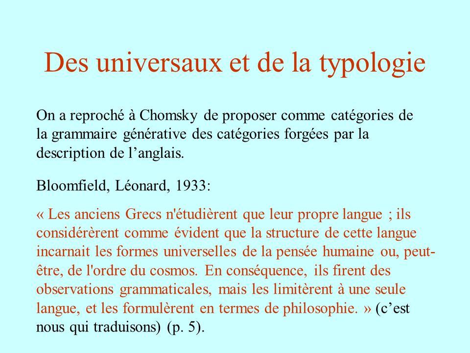 Des universaux et de la typologie