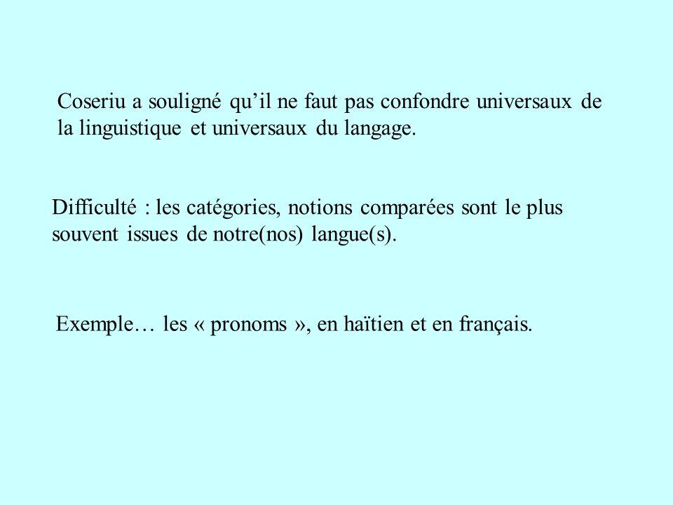 Exemple… les « pronoms », en haïtien et en français.