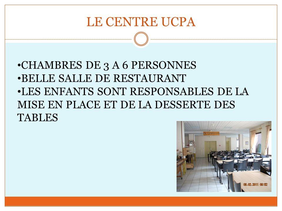 LE CENTRE UCPA CHAMBRES DE 3 A 6 PERSONNES BELLE SALLE DE RESTAURANT