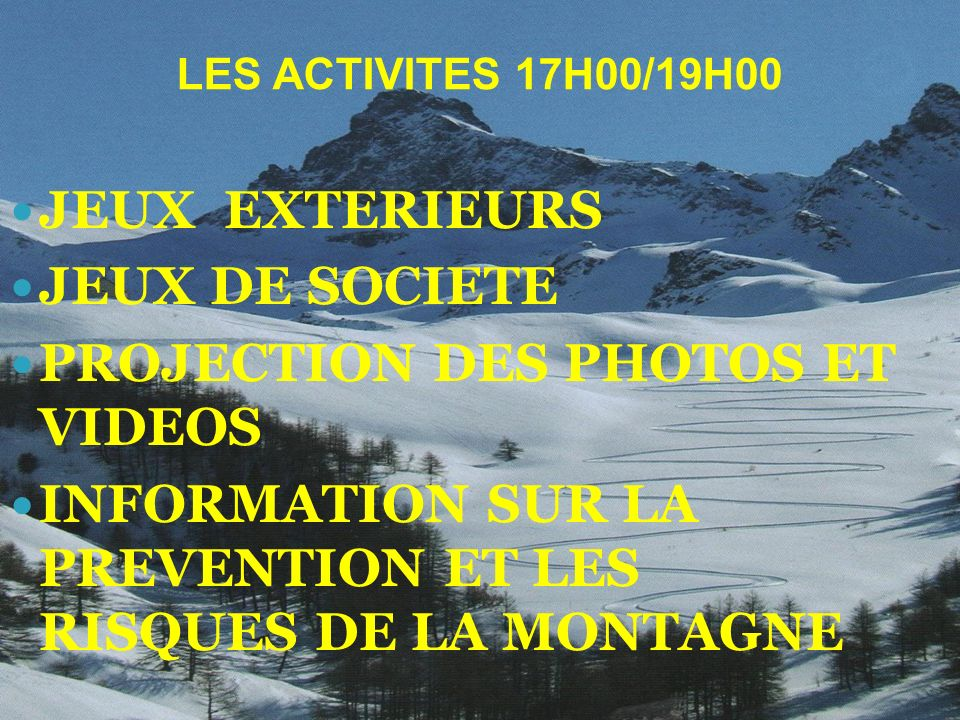 PROJECTION DES PHOTOS ET VIDEOS