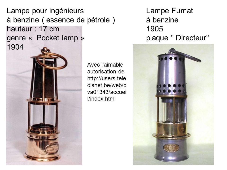 Lampe Fumat à benzine 1905 plaque Directeur