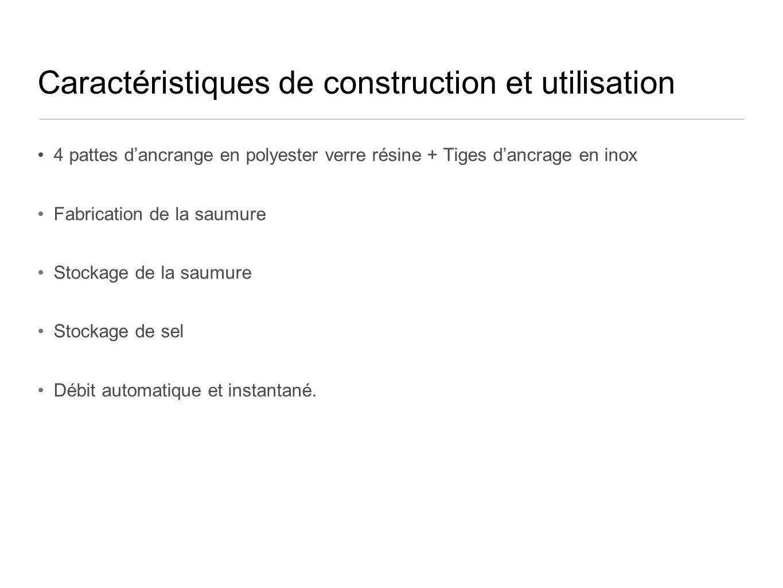 Caractéristiques de construction et utilisation