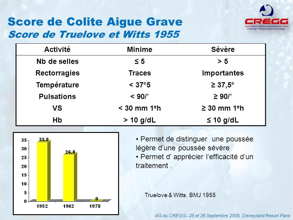 Score de Colite Aigue Grave Score de Truelove et Witts 1955