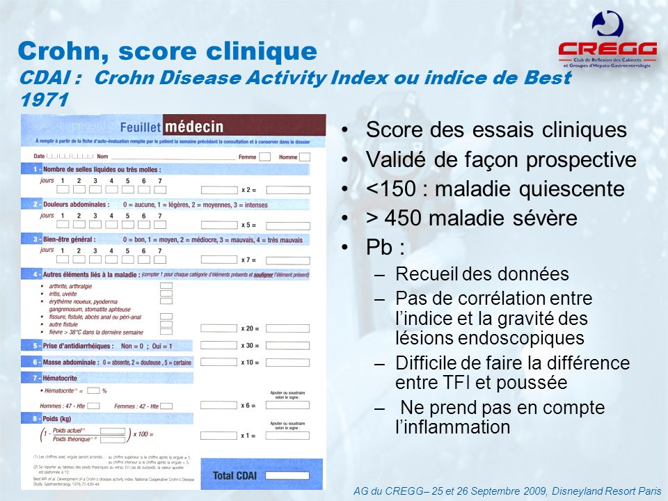 Crohn, score clinique CDAI : Crohn Disease Activity Index ou indice de Best 1971