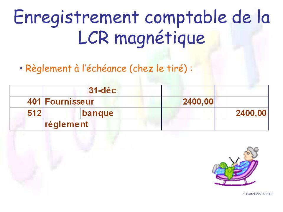 Enregistrement comptable de la LCR magnétique