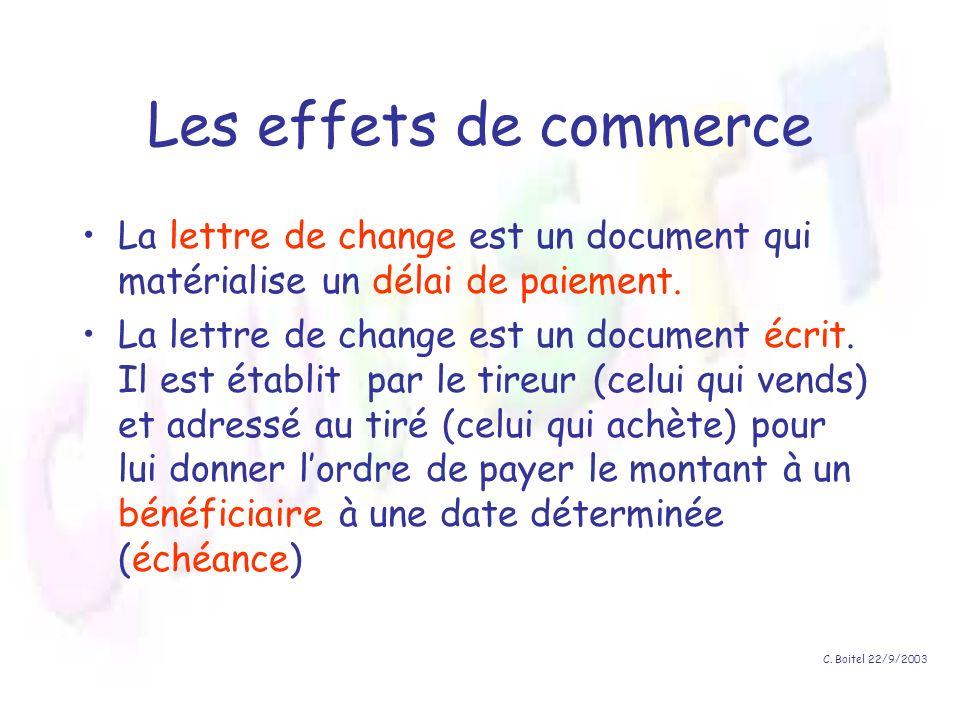 Les effets de commerce La lettre de change est un document qui matérialise un délai de paiement.