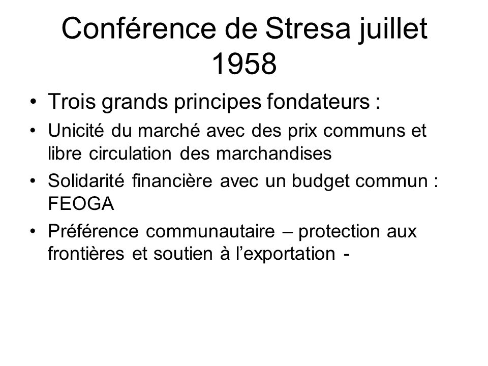 Conférence de Stresa juillet 1958
