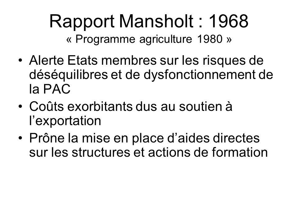 Rapport Mansholt : 1968 « Programme agriculture 1980 »