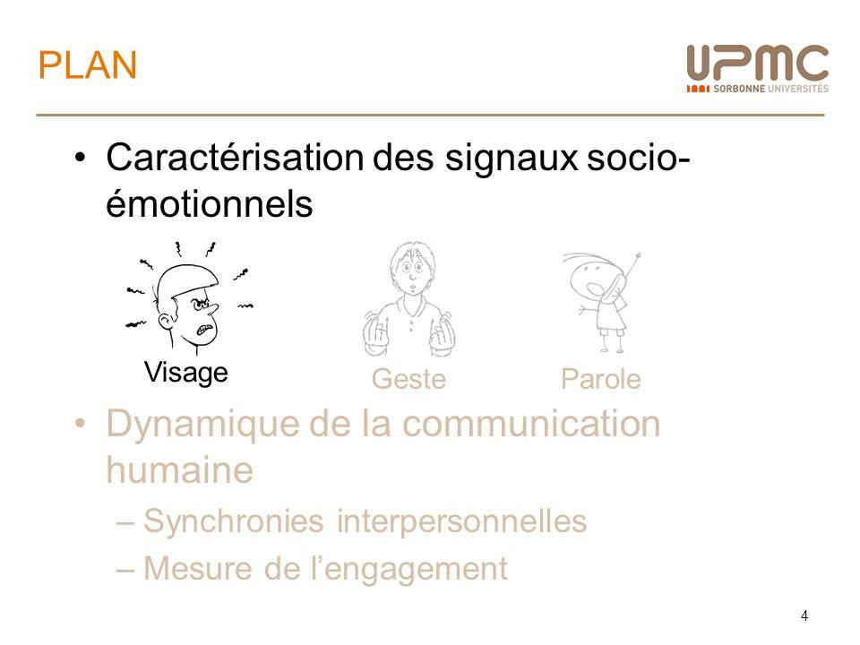 Caractérisation des signaux socio-émotionnels