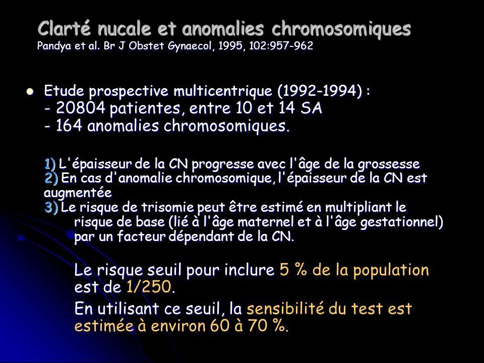 Clarté nucale et anomalies chromosomiques Pandya et al