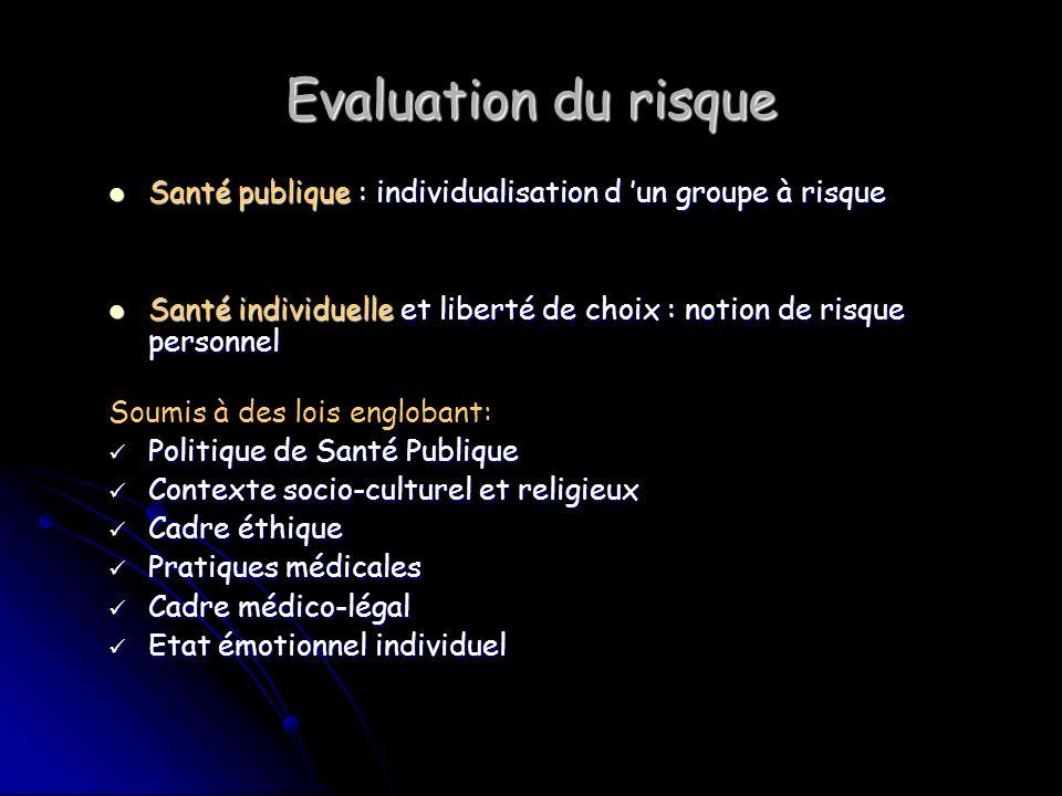 Evaluation du risque Santé publique : individualisation d 'un groupe à risque. Santé individuelle et liberté de choix : notion de risque personnel.