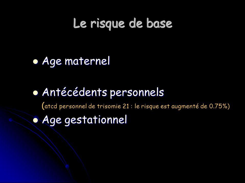 Le risque de base Age maternel Antécédents personnels Age gestationnel