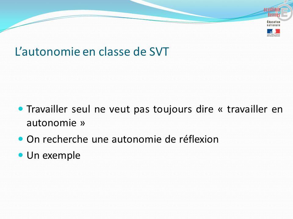 L'autonomie en classe de SVT