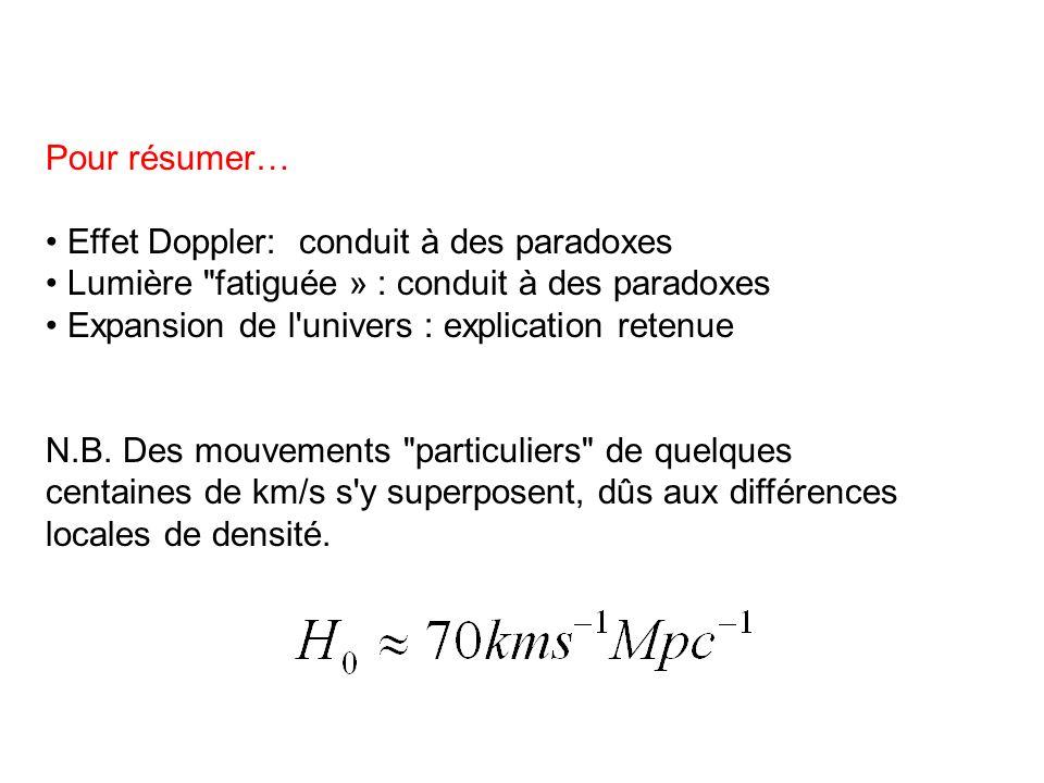 Pour résumer… • Effet Doppler: conduit à des paradoxes. • Lumière fatiguée » : conduit à des paradoxes.