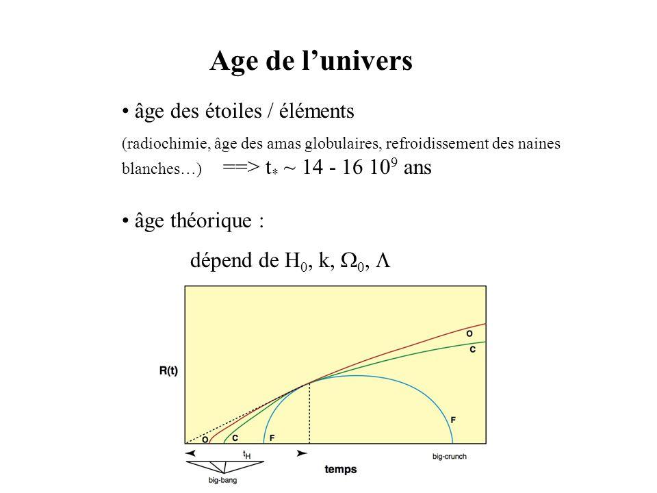Age de l'univers • âge des étoiles / éléments • âge théorique :