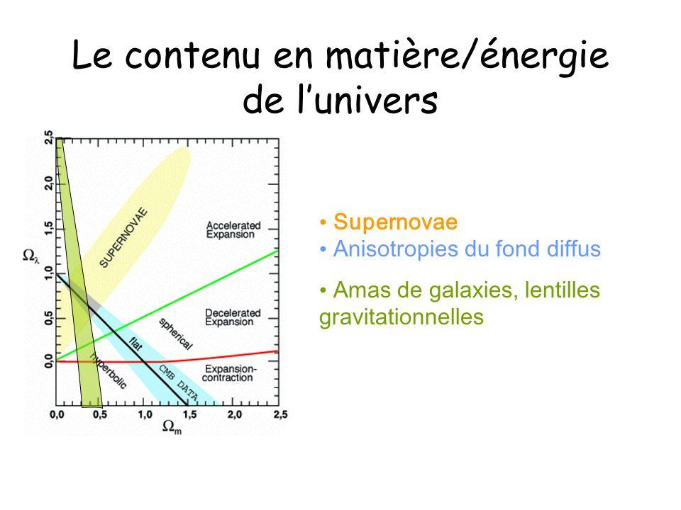 Le contenu en matière/énergie de l'univers