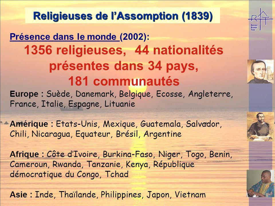 1356 religieuses, 44 nationalités présentes dans 34 pays,