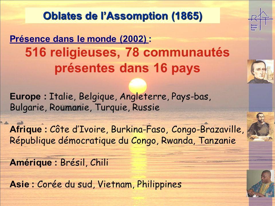 516 religieuses, 78 communautés présentes dans 16 pays