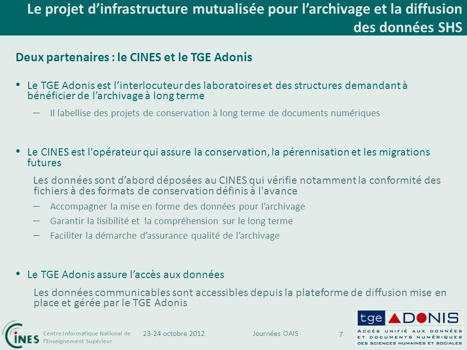 Le projet d'infrastructure mutualisée pour l'archivage et la diffusion des données SHS