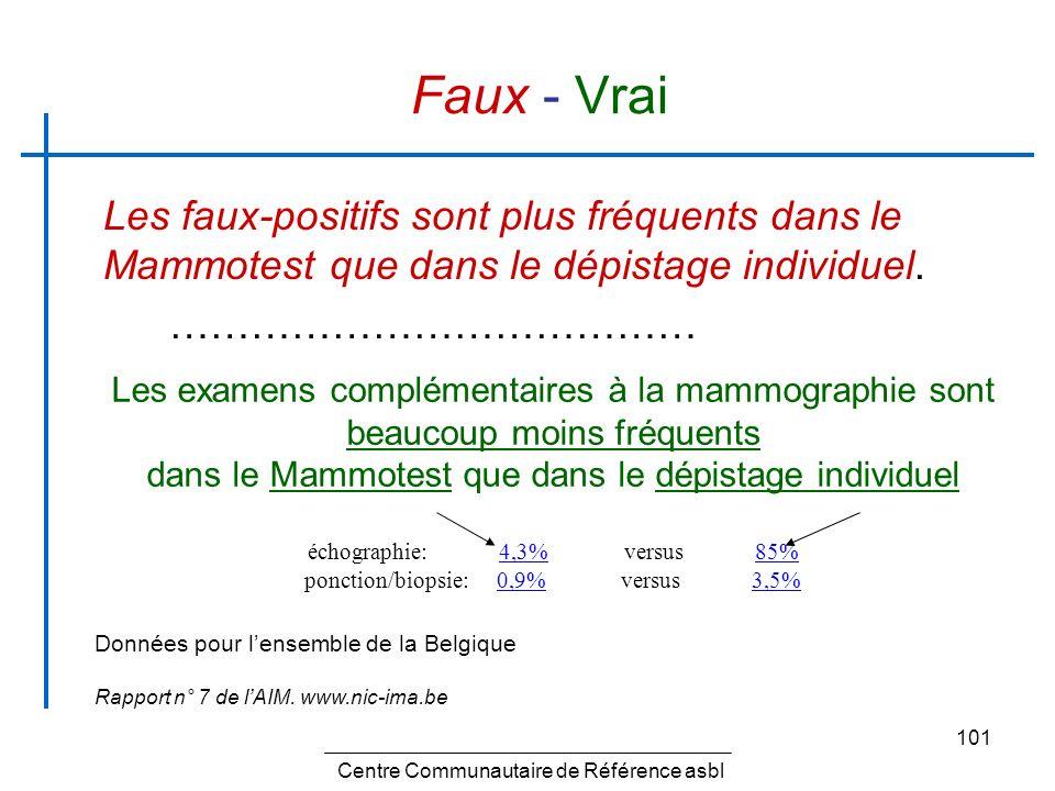 Faux - Vrai Les faux-positifs sont plus fréquents dans le Mammotest que dans le dépistage individuel.