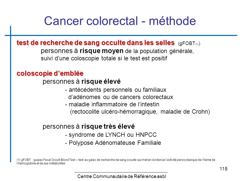 Cancer colorectal - méthode